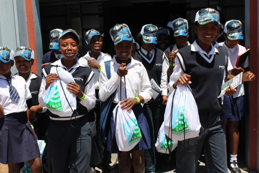 EQUIPPED: Learners showing off bags of goodies inclusive of maritime career information booklets received from SAMSA at this year's Transport Week Career Expo in Newtown Johannesburg.