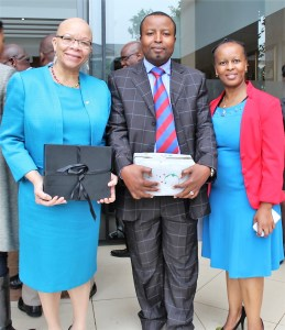 (From Left) World Maritime University president Dr Cleopatra Doumbia-Henry with SAMSA Board secretary, Mr Moyahabo Raphadu and Department of Transport director Ms Ts'episo Taoana-Mashiloane