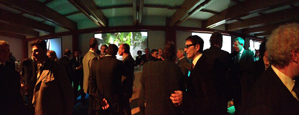 Bellavista, l'area delle vasche di conferimento delle uve trasformata in lounge per la serata di presentazione | ©Sandra Longinotti