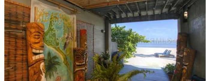 the covered lanai at a Siesta Key house for sale