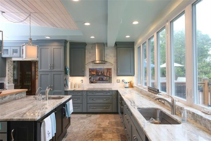 Huge and spacious kitchen interior.