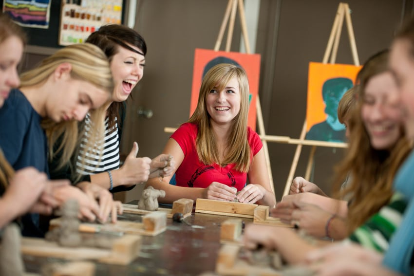 A group of students in an art class.