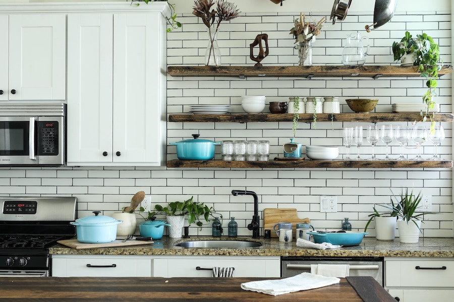 Kitchen with tile and open shelving