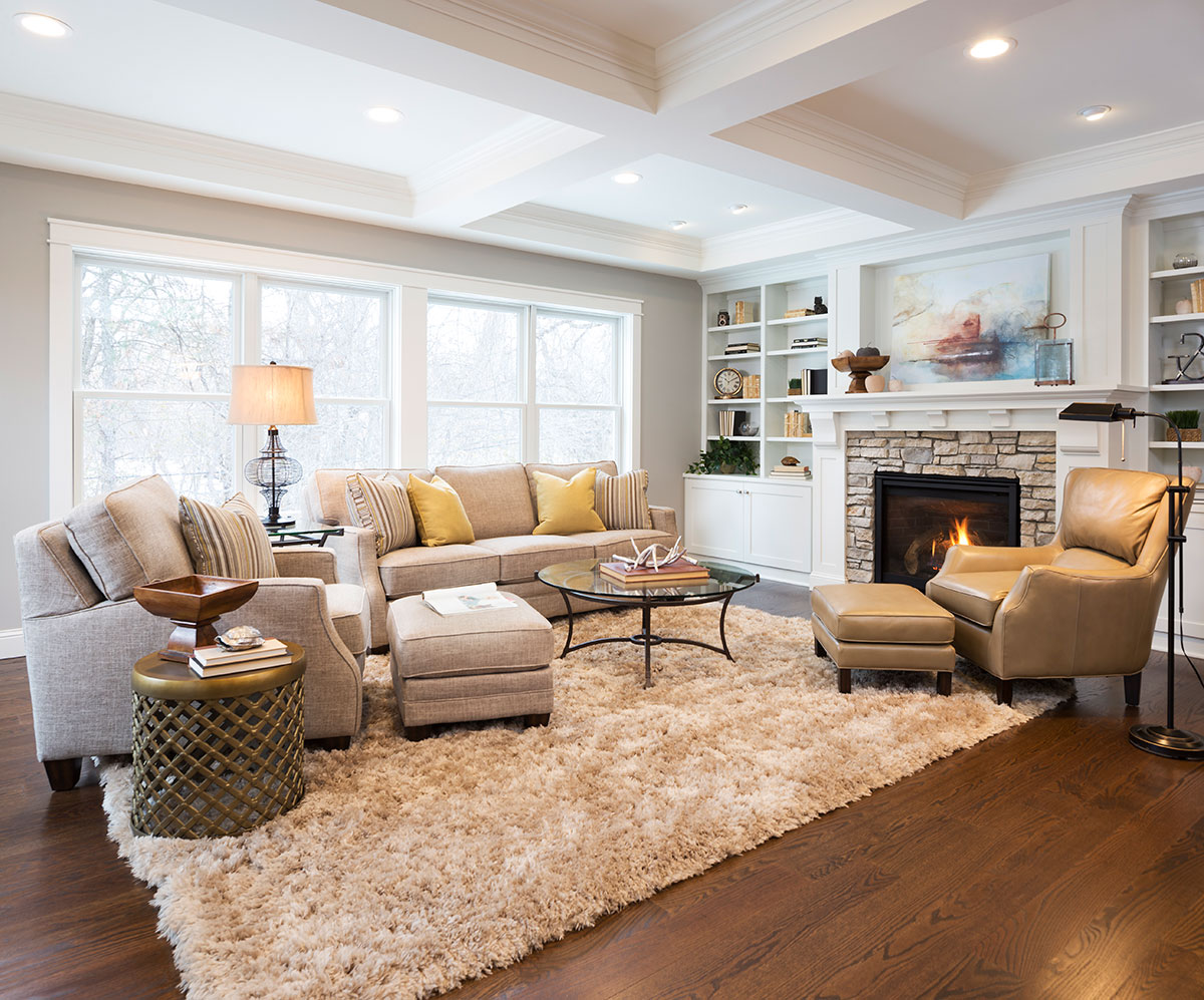 Charming Arranging Furniture In A Open Floor Plan Neutral Living Room With Fireplace  And Large Window Awesome Ideas