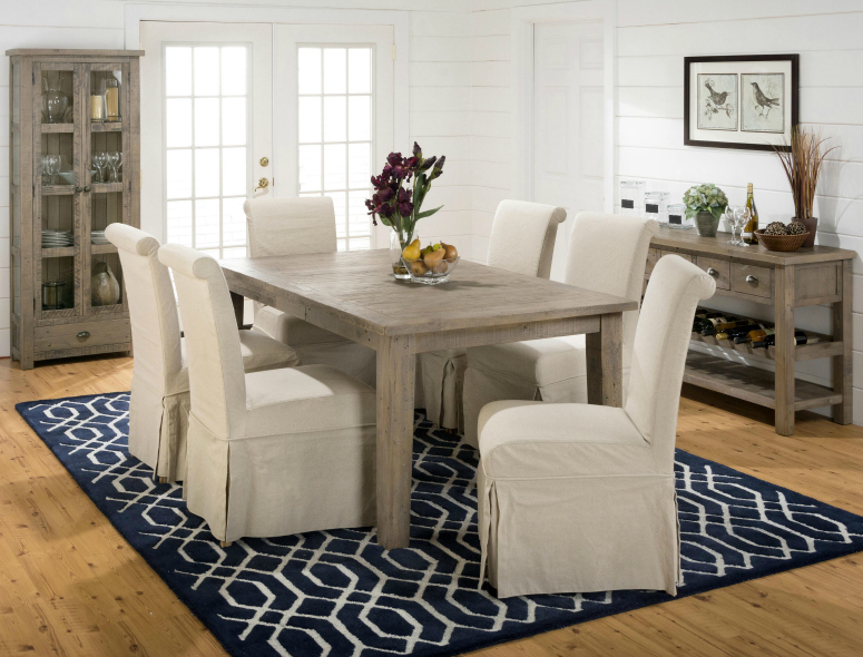 Farmhouse style slater mill dining and shiplap walls for Does the furniture stay on fixer upper