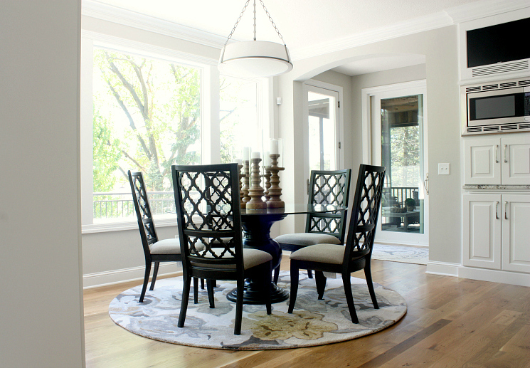 Twin Cities Artisan Home Tour - Light and airy dining nook with gray walls, white trim
