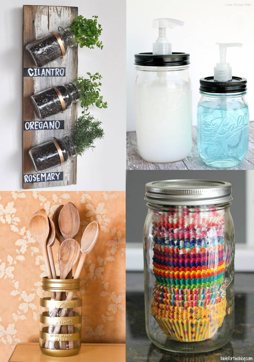 Mason Jars in the Kitchen - Image sources and tutorials in blog post