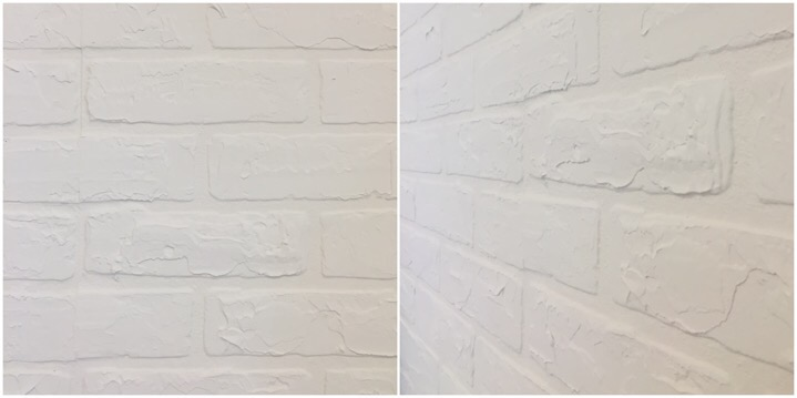 How to diy a white faux brick wall schneidermans the blog a simple and inexpensive way to diy a this white faux brick wall sciox Image collections