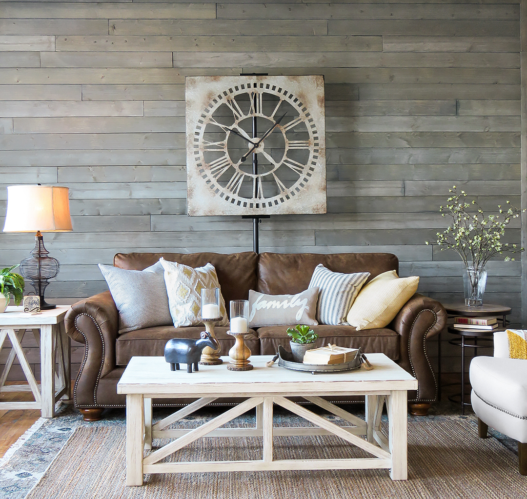 Shop This Farmhouse Living Room: Sofa | Cocktail Table | Nesting Tables