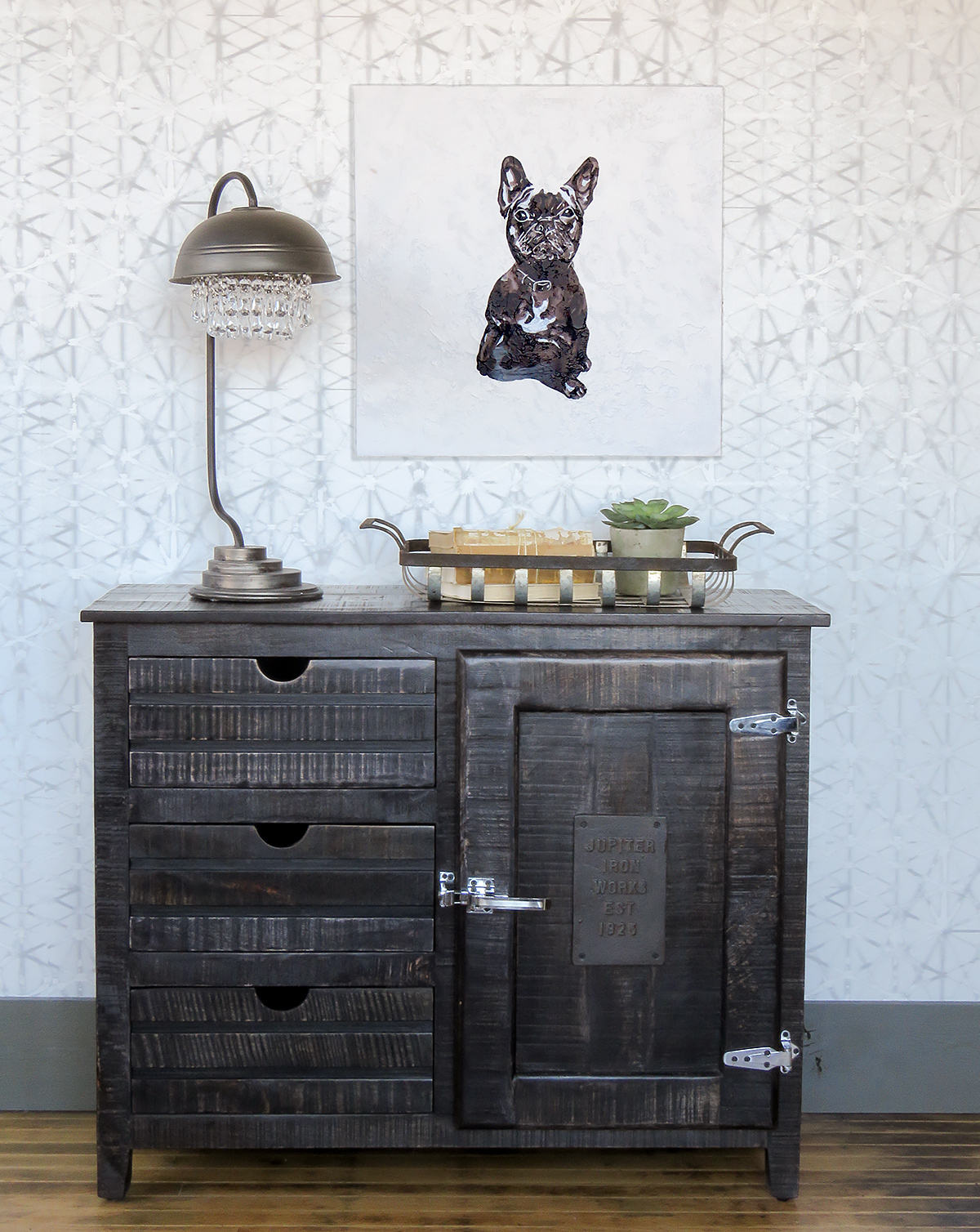 Fun idea for the foyer, or really almost any room in the house. Love the vintage rust cabinet, the lamp and that cute Frenchie art!