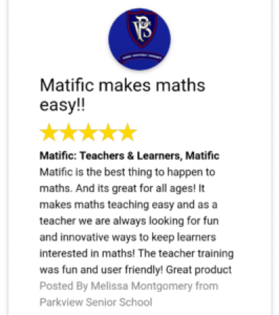 Matific Review - Parkview Senior