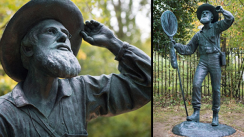 The Statue of Alfred Russel Wallace at the Natural History Museum, London. (Photos taken by Anthony Smith and provided courtesy of Barry Clarke)