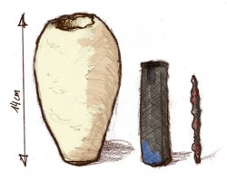 """Jars from 250 BC -250 AD were found containing a copper sheet and iron rod. This jars or """"Baghdad batteries"""" are thought by some to have been used for electroplating of gold. Although their authenticity is in doubt, if true, they would be the first electric battery invented. Source: Ironie, Wikimedia Commons"""