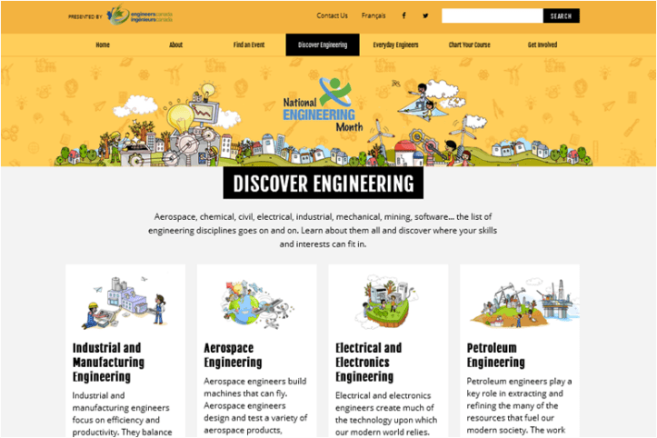 A Screenshot of NEM's Discover Engineering page (used with permission)
