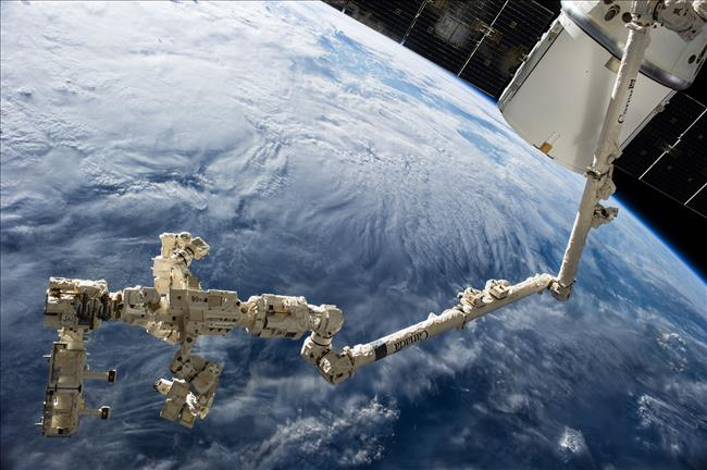 Dextre and Canadarm2 on the International Space Station. Image courtesy of NASA.