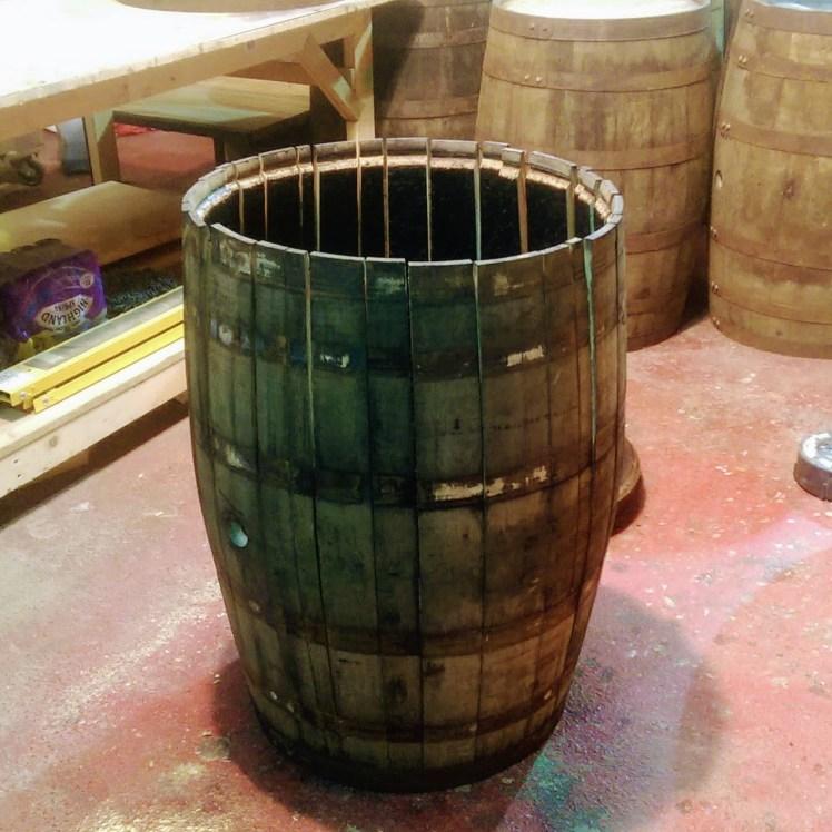Whisky Barrel being taken apart for barrel staves