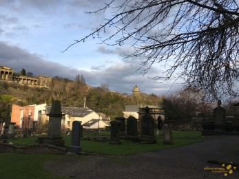 View of the Burns Monument from Robert Fergusson's graveside