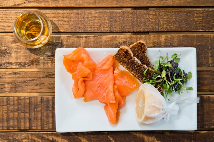 Scottish smoked salmon is a great match with Scotch whisky - Amber Restaurant, Edinburgh