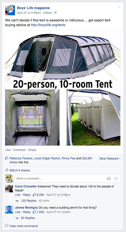 Boys-Life-facebook-20-person-tent  sc 1 st  Bryan on Scouting - Scouting magazine & Boysu0027 Life post about 20-person 10-room tent goes viral
