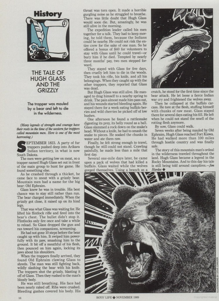 Hugh Glass Boys Life November 1989