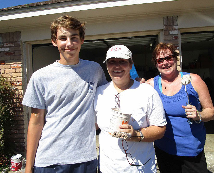 Family support: From left, Scout Gunner Gregg's crew his mother Peggy Gregg and Deidre Gregg, his aunt.