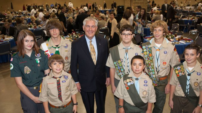 Image result for photos of tillerson with boy scouts