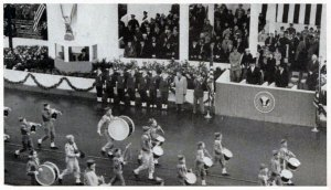 Scouts march at the 1957 inauguration.