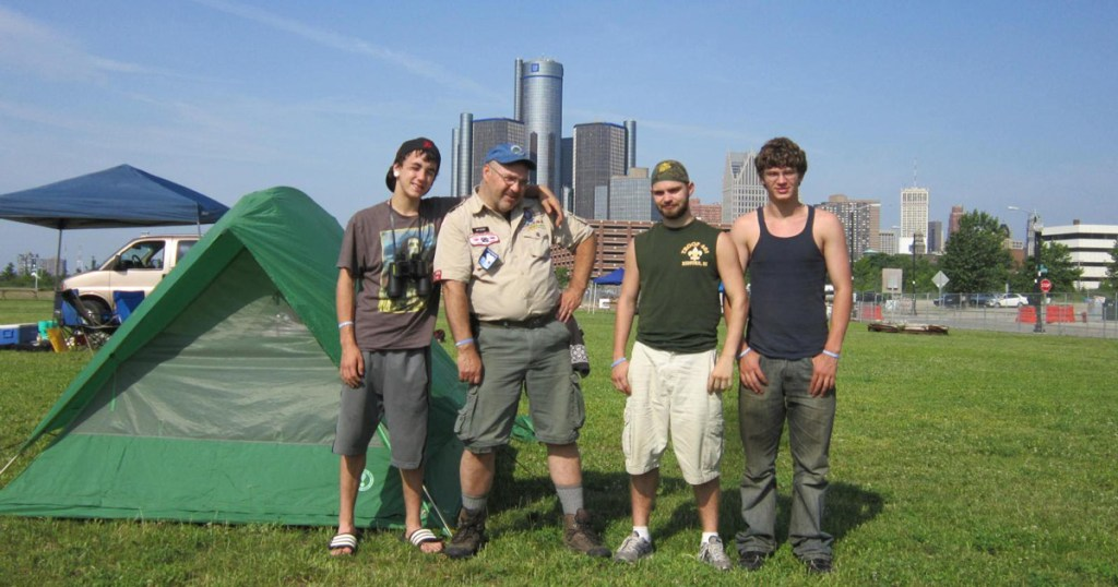 Troop 401 of Redford, Mich., camped at Milliken State Park along the Detroit River, in the heart of downtown Detroit.