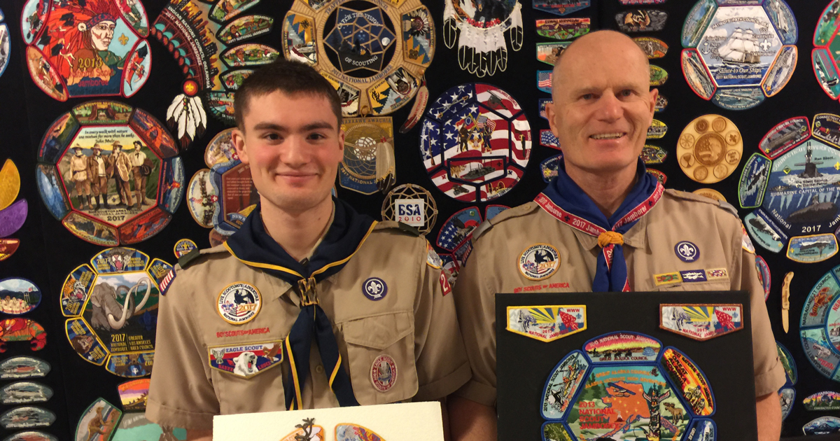 This family's collection of National Jamboree patches stretches 16 feet long