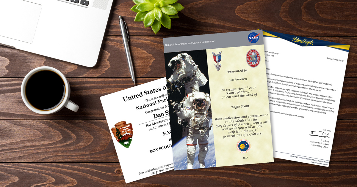 photograph regarding Eagle Scout Congratulations Card Printable named Eagle Scout certificates and letters on your own can print versus household