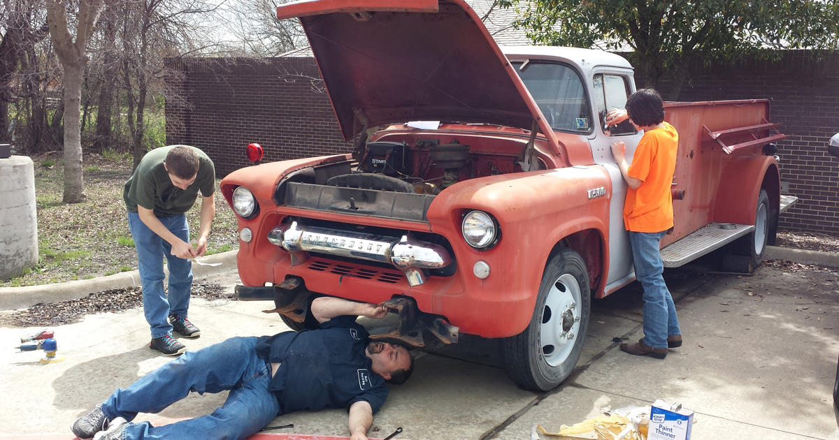 For his Eagle project, this Scout and Fire Explorer restored a 1956 Chevrolet truck