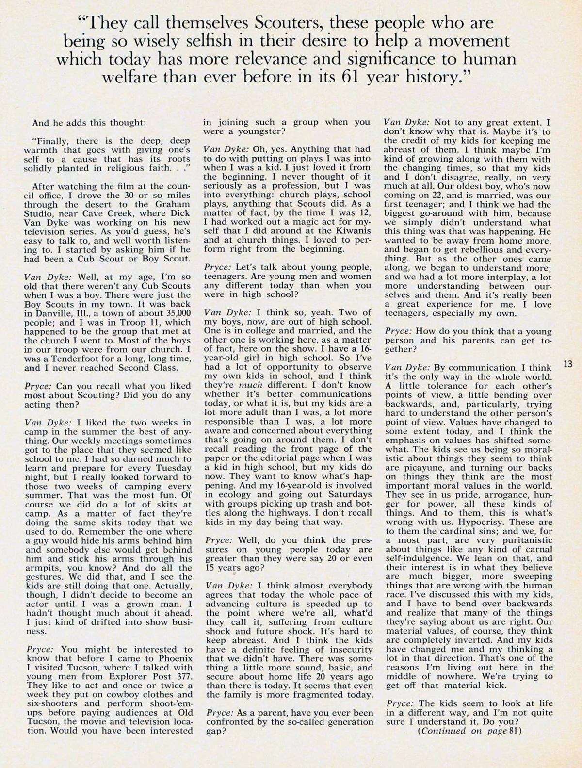 Dick Van Dyke Scouting September 1971 – 2