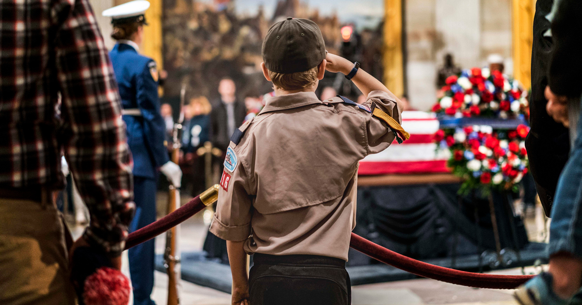 Duty to country: Webelos Scout, Boy Scouts salute President George H.W. Bush