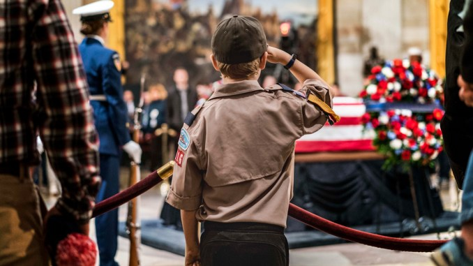 During the public viewing former President George H.W. Bush lies in State at the US Capitol rotunda on Capitol Hill in Washington, DC on Monday December 3, 2018. (Photo by Melina Mara/The Washington Post via Getty Images)