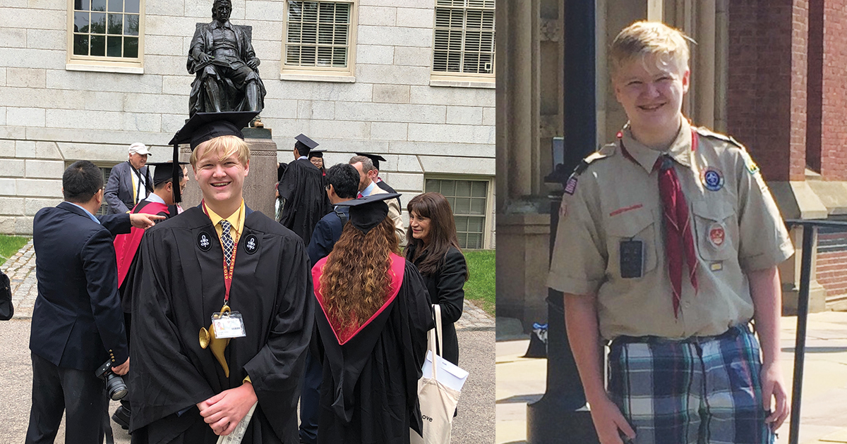 Life Scout graduates from high school and Harvard weeks apart
