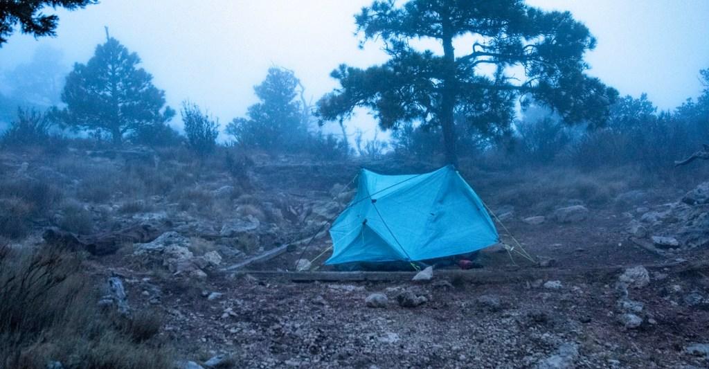 Jamie's tent in the wind