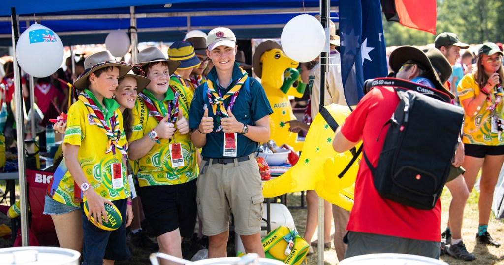 Scouts from Australia celebrate Scout Unity Day during the 2019 World Scout Jamboree. (Photo by Jeff Hattrick)