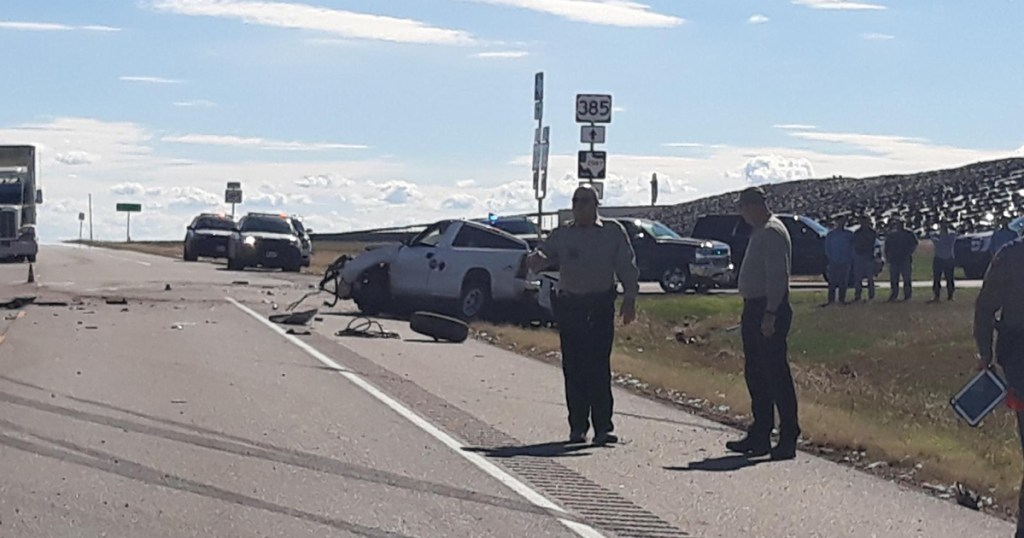 The scene of the crash in Texas