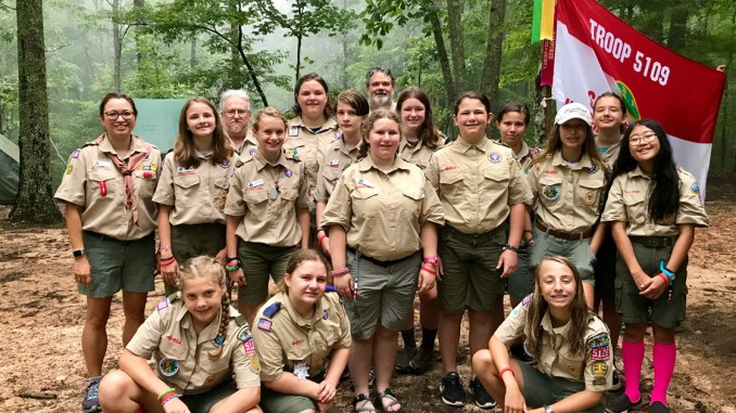 Troop 5109 at summer camp.