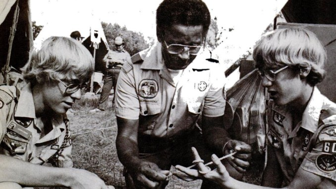 Joseph Merton with Boy Scouts
