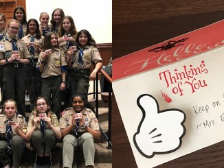 Left: Scoutmaster Elaine Mitchell (left) and her troop in January 2020. Right: A handmade card from Mitchell to her Scouts.