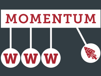 The Momentum Launch logo with three W's and the arrow logo