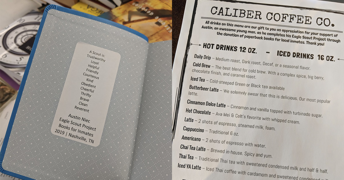 Left: A sticker inside each donated book includes the Scout Law. Right: Caliber Coffee created a special menu of free drinks for anyone who donated a book.