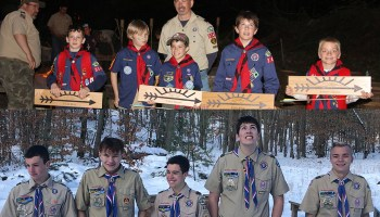 Group photo of Webelos Scouts and Eagle Scouts