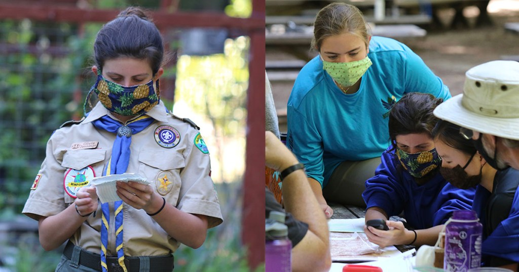 Left: Olivia gives announcements at her troop's SuperCamp in July. Right: Olivia teaches GPS skills to her fellow Scouts.