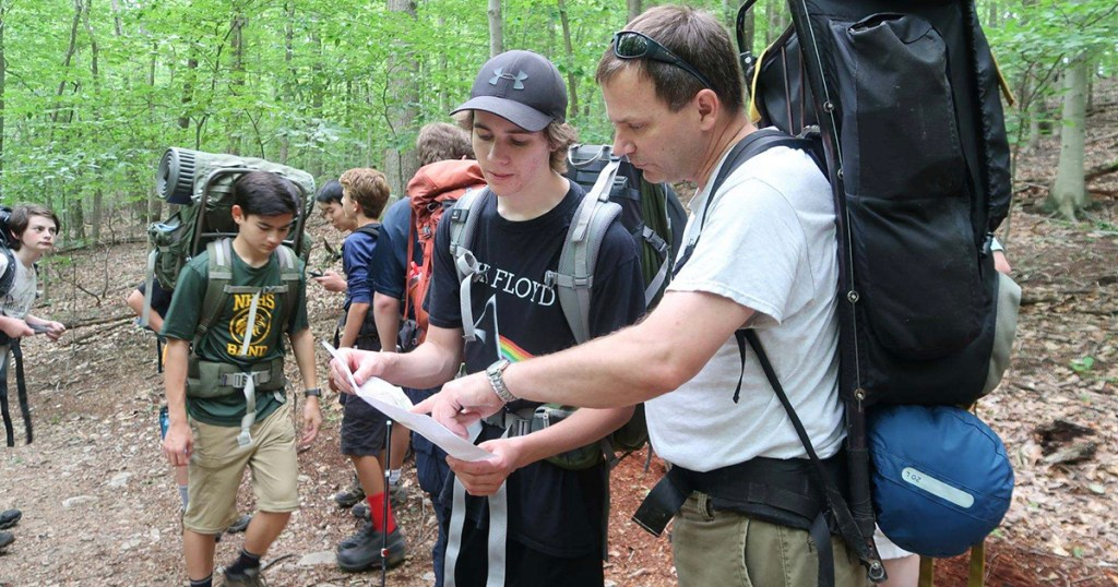 Mike Huneke and his son, Jacob, on a Philmont shakedown hike. Photo by Rick Garriques