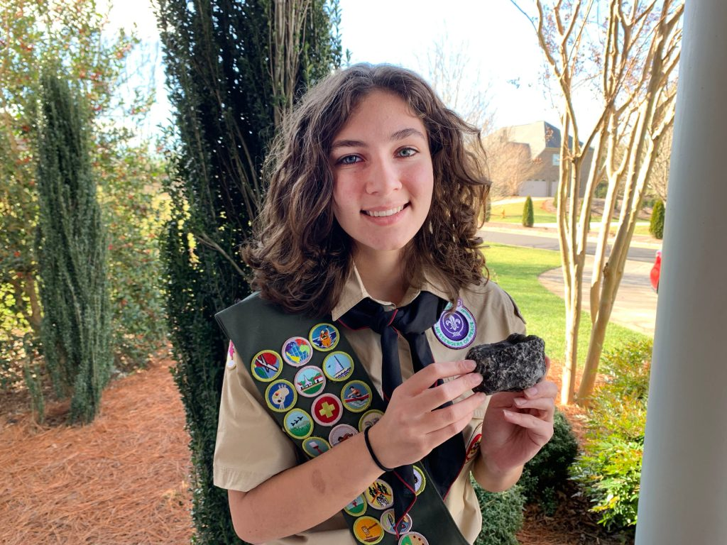 She created a geocaching trail that links together 14 Eagle Scout service projects