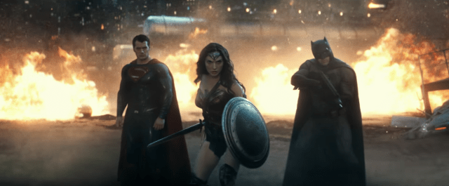 Superman, Wonder Woman and Batman in Batman v Superman: Dawn of Justice