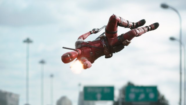 Ryan Reynolds in action as Deadpool.