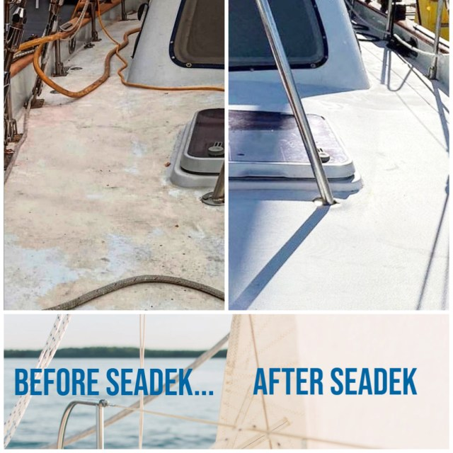 Before and after picture of a sailboat with white embossed SeaDek material.